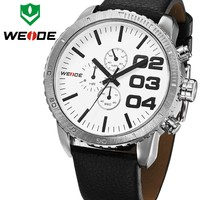 WEIDE Military Style Black Date Hour Analog Fabric Strap Men Watch