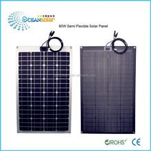 hot sale 60w high efficiency mono semi-flexible solar panel watt flexible solar panel for boat RV portable solar system