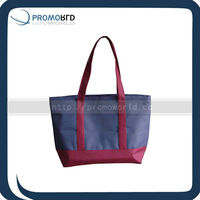 Lady's polyester handle bag with PVC backing waterproof hanlde shopping bag