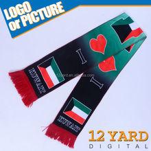 Magic scarf pattern Kuwait knitting national flag heart-shaped cross printed scarf
