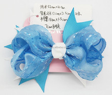 Factory Wholesale BIue 1PK Hair Bow for Girl, Grosgrain Ribbon Forked Tail Bows Baby Headwear (approved by BV)
