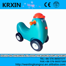 plastic animal ride on toy lovely chicken toy with wheels for small kids