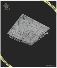2015 Hot sale hotel luxury hanging crystal pendants flat glass ceiling light