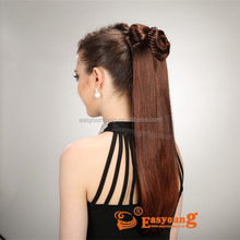 Custom made fashionable claw clip hair ponytails ,synthetic drawstring hairpiece