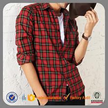 De algodón de manga larga de franela venta al por mayor rojo y negro plaid camisa