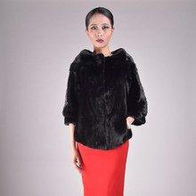 Black mink fur jacket with o-neck collar and three quarter sleeves for girls