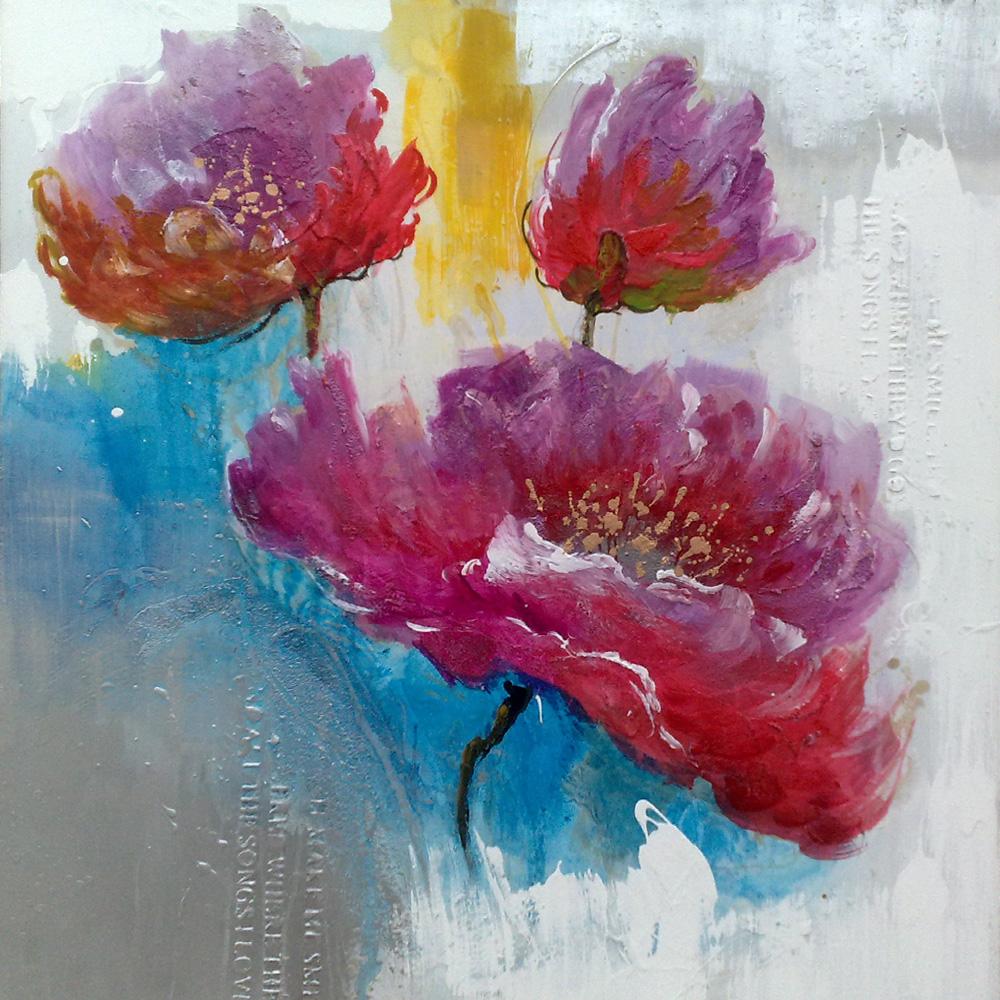 Grote bloem schilderijen, moderne canvas kunst bloem schilderij ...