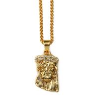 18K gold vacuum plating hip hop popular studded rhinestone jesus piece small head pendant hip hop necklace gold plated jewelry