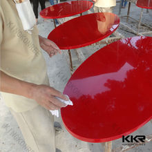 high glossy red color round table , high quality solid surface dinning table