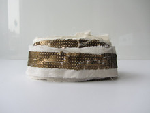 gold sequence on white cotton fabric strip ribbon trim
