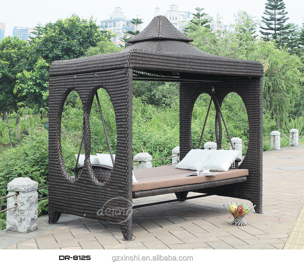 High Quality Four Seats Rattan Patio Swing With Canopy Garden