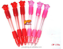 2015 good selling rose design cute carton plastic light ballpoint pen
