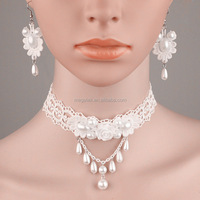 Bride jewelry white lace rose necklace cheap pearl necklace and earring set