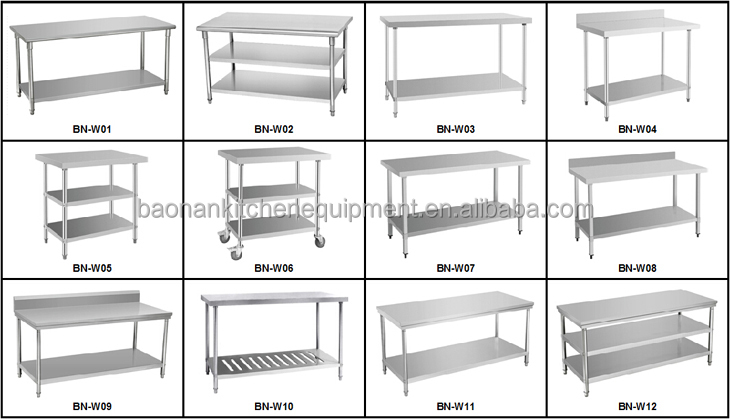 Commercial Kitchen Equipment Stainless Steel Prep Table With Heavy - Restaurant equipment stainless steel table