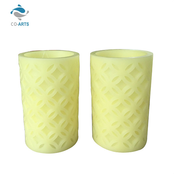 Professional carving yellow battery charge led wax candle