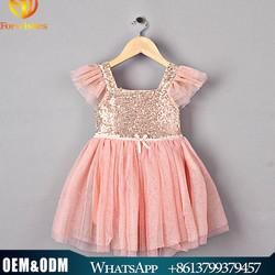 Girl pink sequin dress kids cute boutique baby party dress kids Christmas dress
