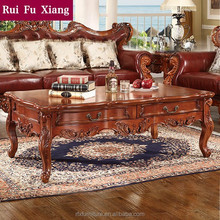 American classical style solid wood frame and mdf coffee table with drawers P-241