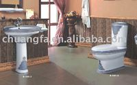 decorated ceramic pedestal and toilet two sets