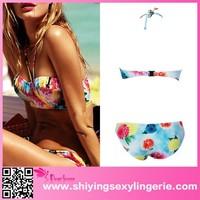 hot new Flourish Print high halter bikini top halter neck bikini open women photos