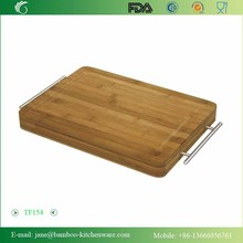 Simply Bamboo Carving Chopping Serving Board with Metal Handles