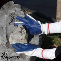 SRSAFETY 10 gauge knitted cotton liner with rubber on palm/ fancy rubber gloves/industrial rubber glove