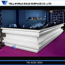 L Shaped White Marble Top Reception Bar for sale Hotel Bar Counter