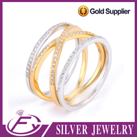 Top zircon stone dubai wedding style plated pure 24k gold rings price