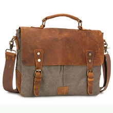 Fantastic and classic customized canvas&leather women messenger bag