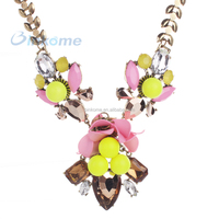 Big bib pendant nekclace colorful rhinestone chain necklace for lady party fashion jewelry wholesale cheap price
