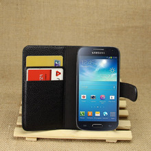 PU Leather flip wallet case cover for samsung galaxy s4 mini i9190