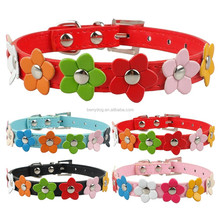 New Fashion Flower PU Leather Dog Pet Collar
