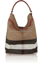2014 spanish design women canvas genuine leather and canvas tote bag
