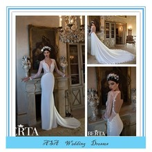 Western Style Sexy Mermaid Wedding Dress for Fat Woman Berta Long Sleeve Sheer Lace Wedding Dresses 2015 New Fashion(BTB02)
