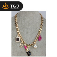 >>2015 New Hot sale necklace Fashion Neon Acrylic gold Metal Chain Necklace &Pendant For Women lips lipstick necklace //