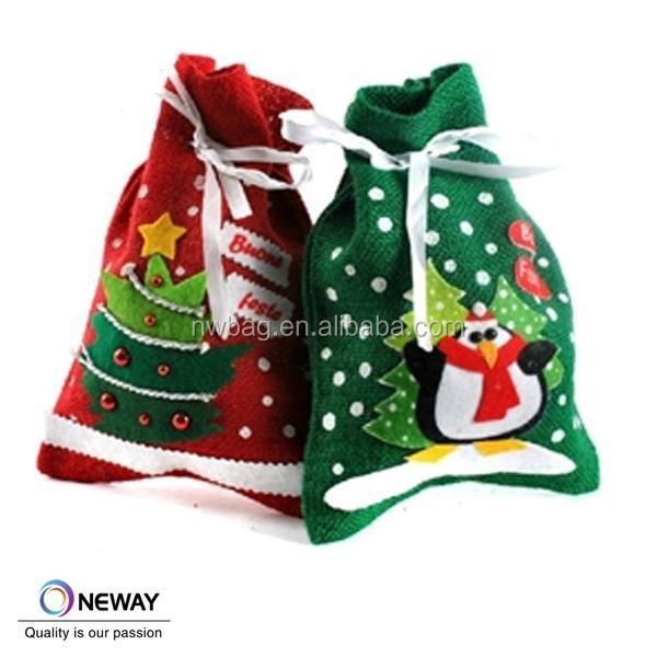 Custom cotton christmas book bags drawstring bag gift