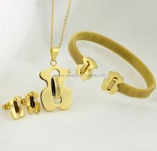 Wholesale dubai jewelry set dubai gold jewelry set 18k gold plated bear jewelry sets