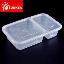 2 compartment transparent rectangular plastic food container with lid
