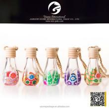 Polymer clay car hanging air freshener bottle, empty perfume bottle, car hanging bottle