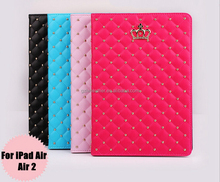 2015 New Luxury Crown Folio Stand Leather Case For Apple iPad Air/Air2