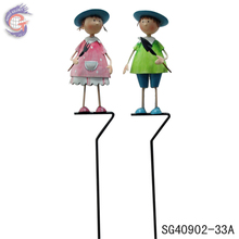 lovely metal garden boy and girl figurines