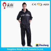 unisex reflective black rubber rain suit