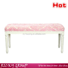 Pink fabric natural wooden bench/chair without backrest