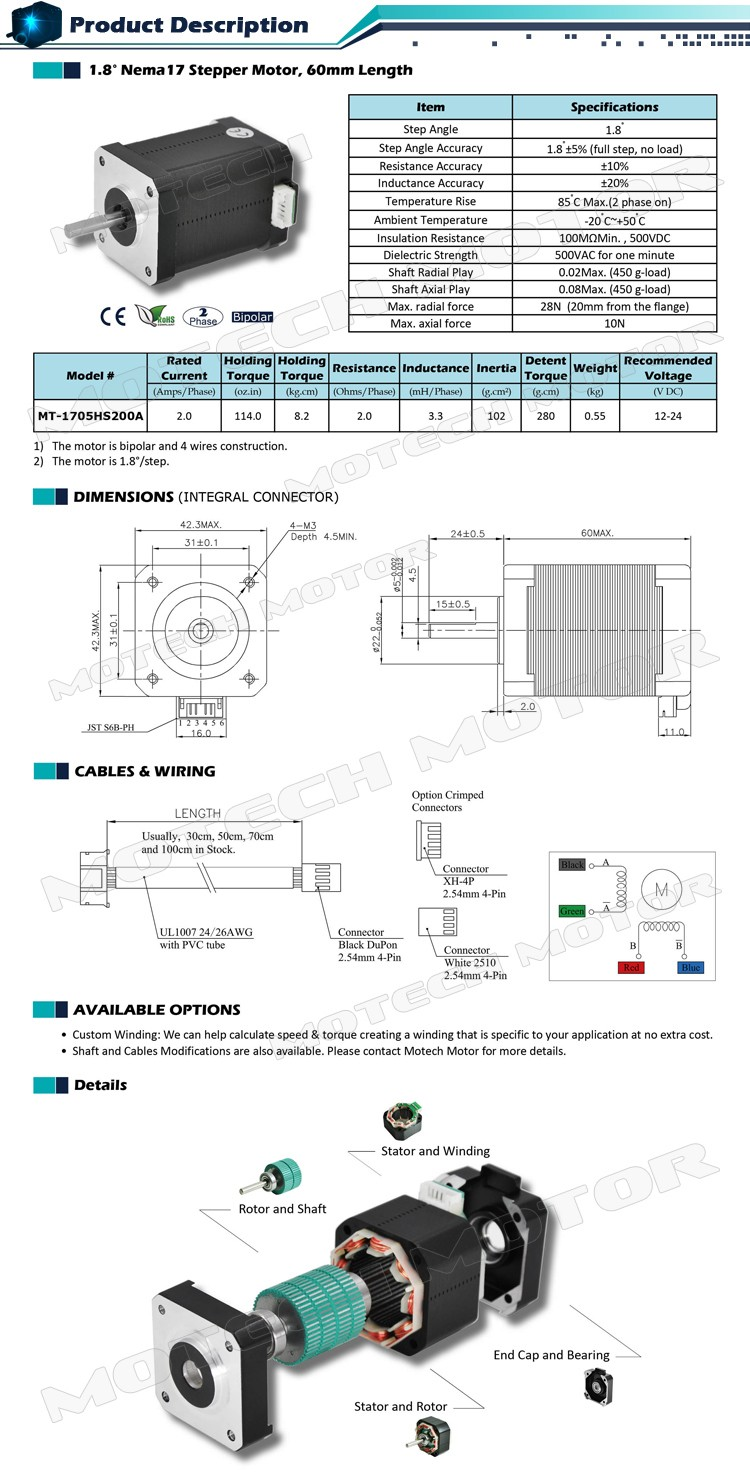 High Torque Nema 17 Stepper Motor 60mm Length Buy Wiring Diagram Mt 1705hs200a 750