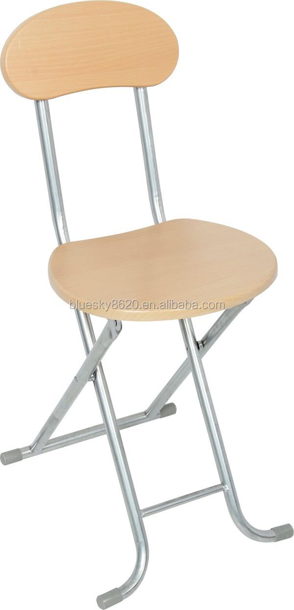 Moderna tubo de metal plegable de madera silla de comedor for Sillas modernas de metal para comedor