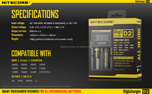 Authorized Distributor authentic 12v solar car battery charger for 18650/18530 3.7v Nitecore D2 intelligent I2 I4/D4/D2