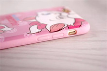 Fashion cartoon cat design silicone soft back cover case for iphone 6