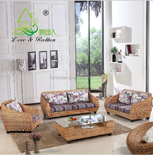High Quality Modern Luxury Balcony Sunroom Wicker Indoor Natural Rattan Sectional Two Seat Sofa Living Room Furniture Set