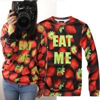 Printed strawberry fashion ldies latest design sweatshirt