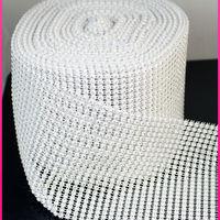 24rows white color plastic fabric rhinestone crystal mesh trim