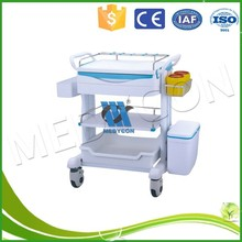 Hospital ABS Medical Equipment Trolley / Anesthesia Cart With 2 Middle Drawers, medical crash carts